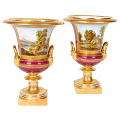 """Pair of Neoclassical Campagne Shaped """"Russian or French"""" Porcelain Vases"""