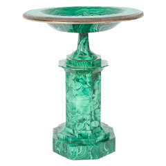 Neoclassical Russian Malachite Centerpiece, Ekaterinburg Faceting Factory