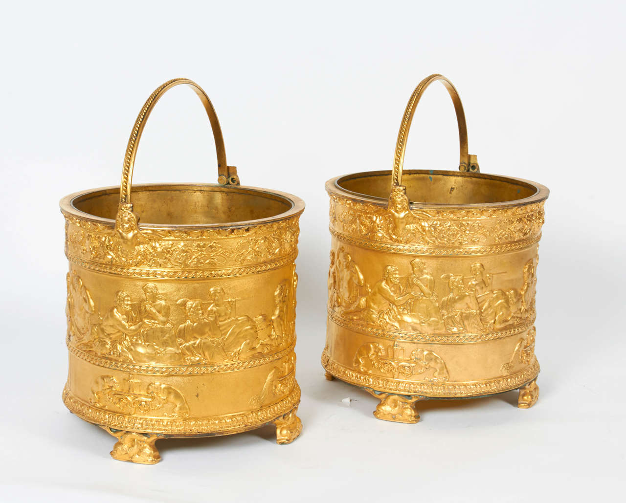 English Pair of Elkington & Co Gilt Bronze Neoclassical Jardiniere/Champagne Ice Buckets For Sale