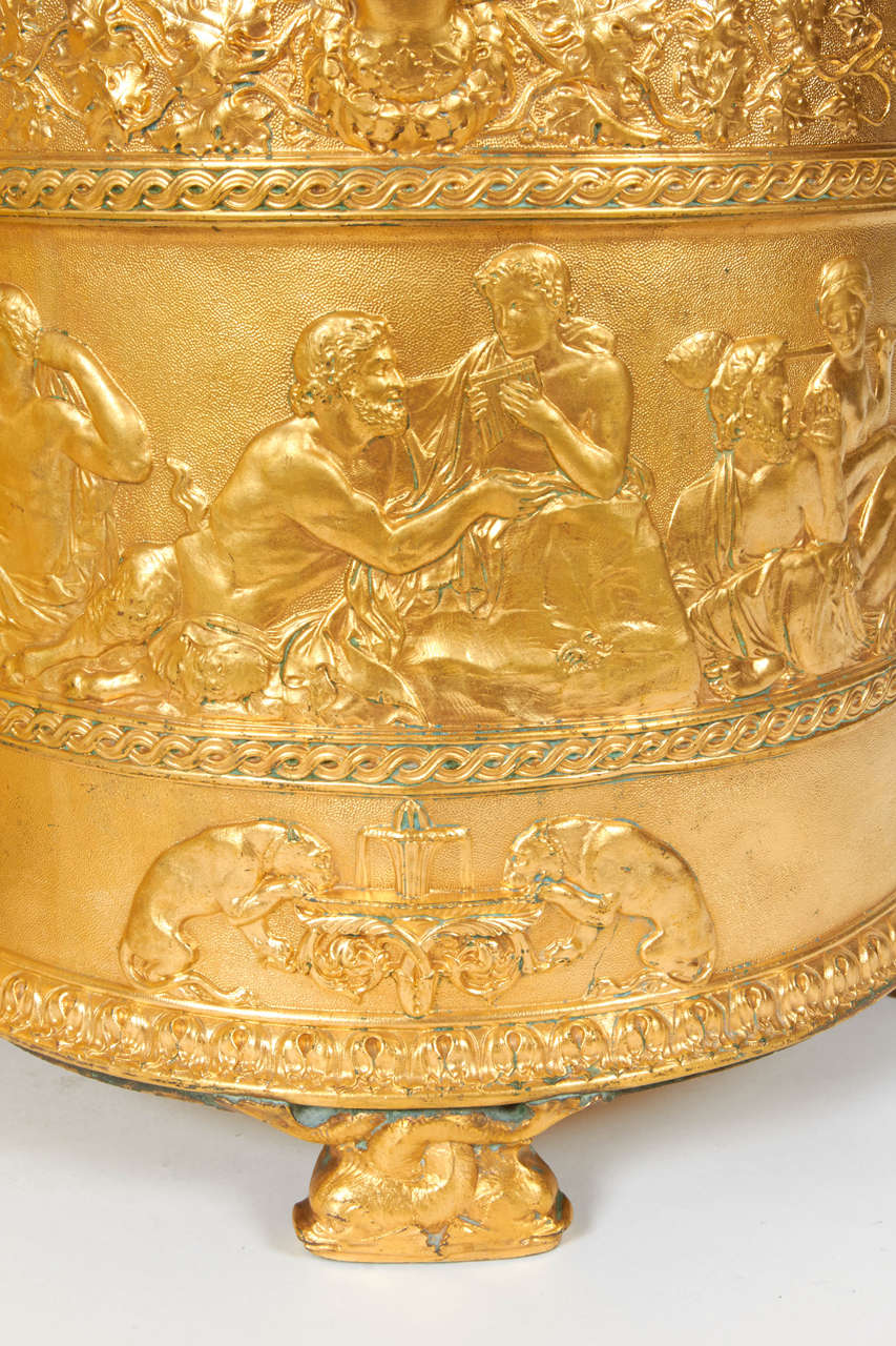 Late 19th Century Pair of Elkington & Co Gilt Bronze Neoclassical Jardiniere/Champagne Ice Buckets For Sale