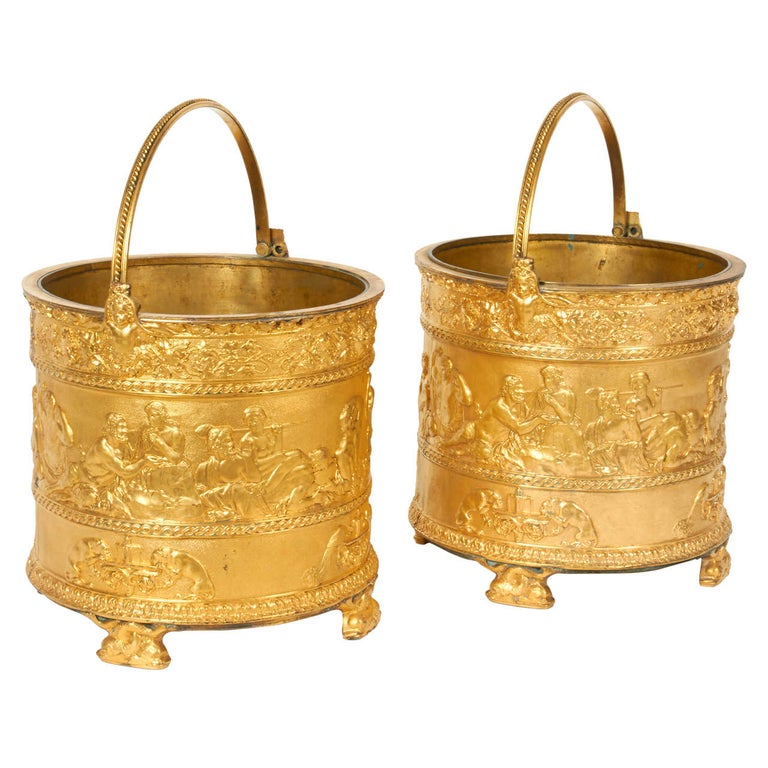 Pair of Elkington & Co Gilt Bronze Neoclassical Jardiniere/Champagne Ice Buckets For Sale