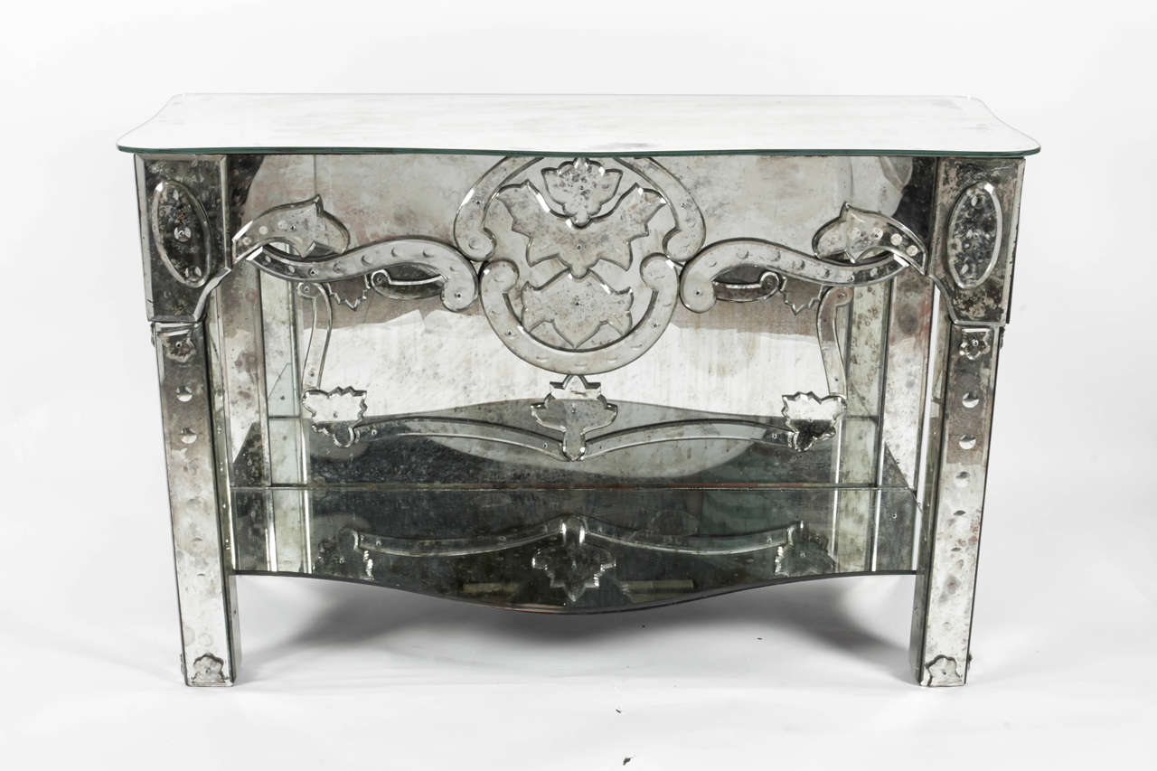 A Beautiful Pair Of 1940s Antique Venetian Etched Mirror Console Tables Or  Side Tables, From