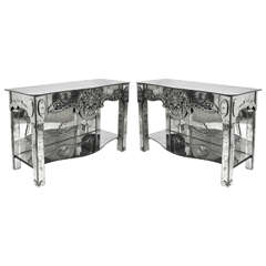 Pair of 1940s Antique Venetian Etched Mirror Consoles or Side Tables
