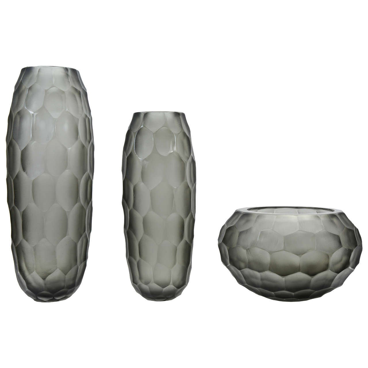 Set of Three Vases in Grey Murano Glass, Signed Toso Murano