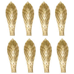 Set of Eight Wall Sconces in Gold Murano Glass