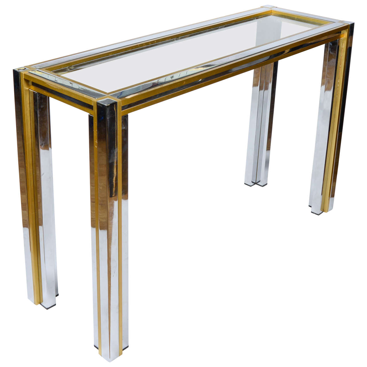 Console Table With Glass Brass And Chrome Plated Metal At