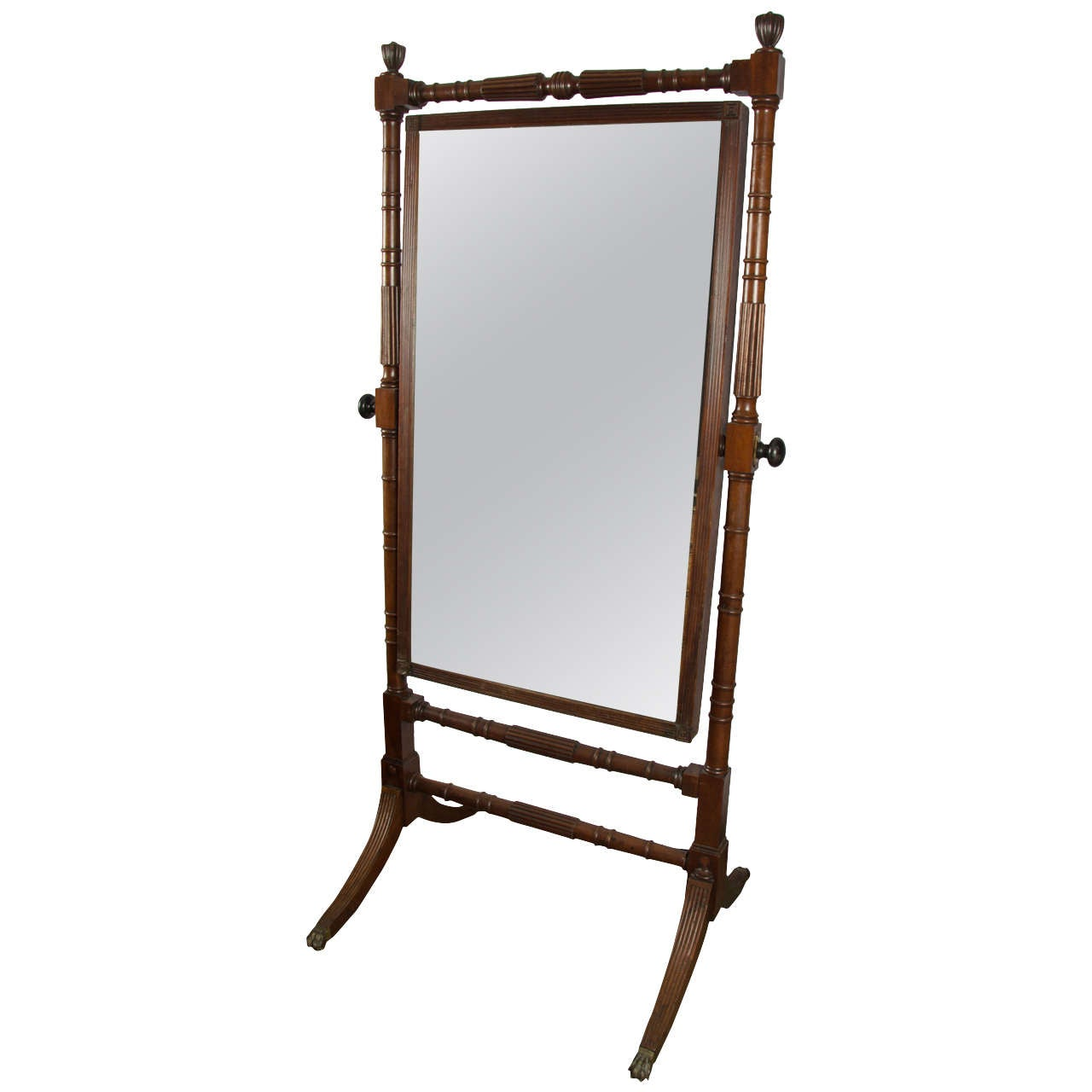 Regency mahogany cheval mirror at 1stdibs for Cheval mirror