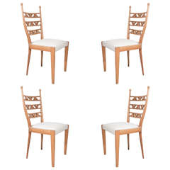 Paolo Buffa Attributed Set of Four Carved Blonde Wood Chairs
