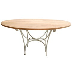 Indoor or Outdoor Round Teak and Metal Base Garden Dining Table