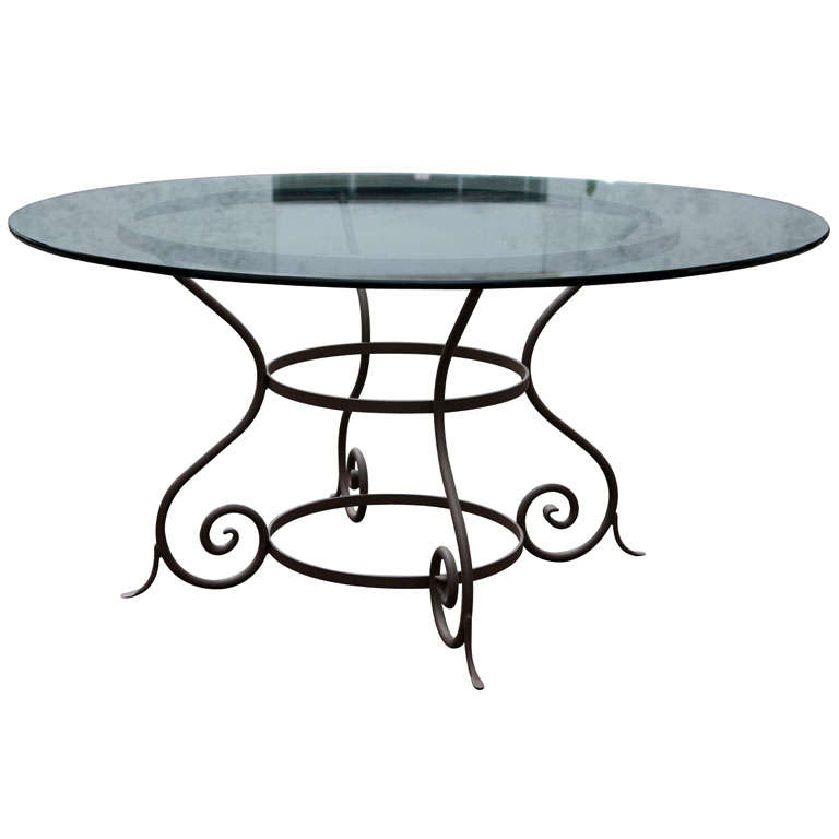 Outdoorindoor Metal Base Round Dining Table at 1stdibs : x from www.1stdibs.com size 768 x 768 jpeg 28kB