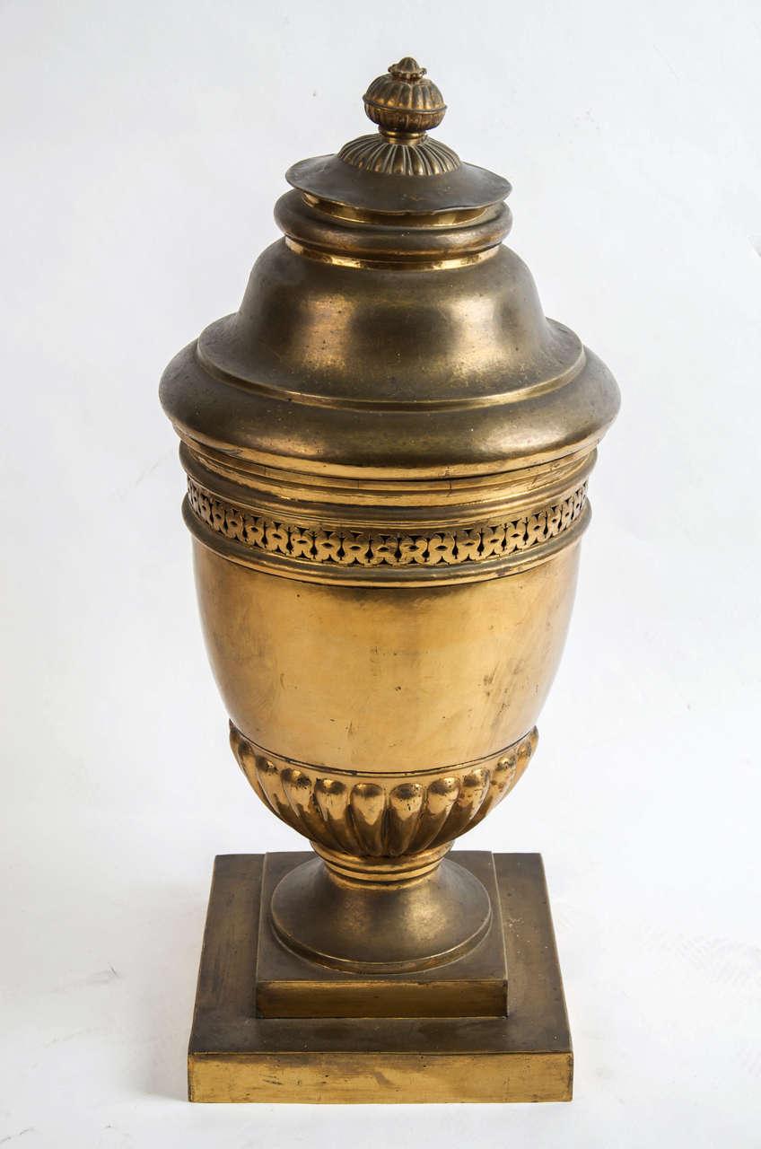 Large 19th century French gilt-brass lidded Potpourri urn