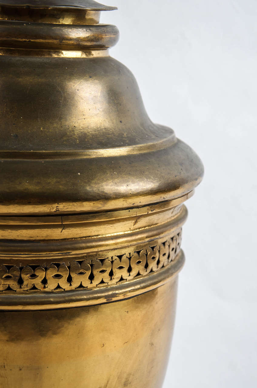 Neoclassical Large brass lidded urn For Sale