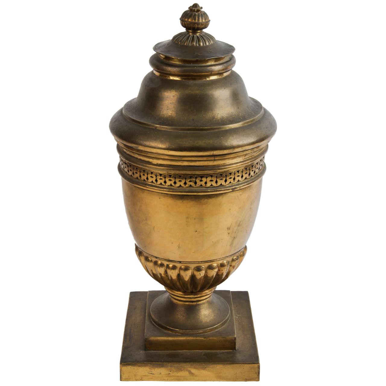 Large brass lidded urn