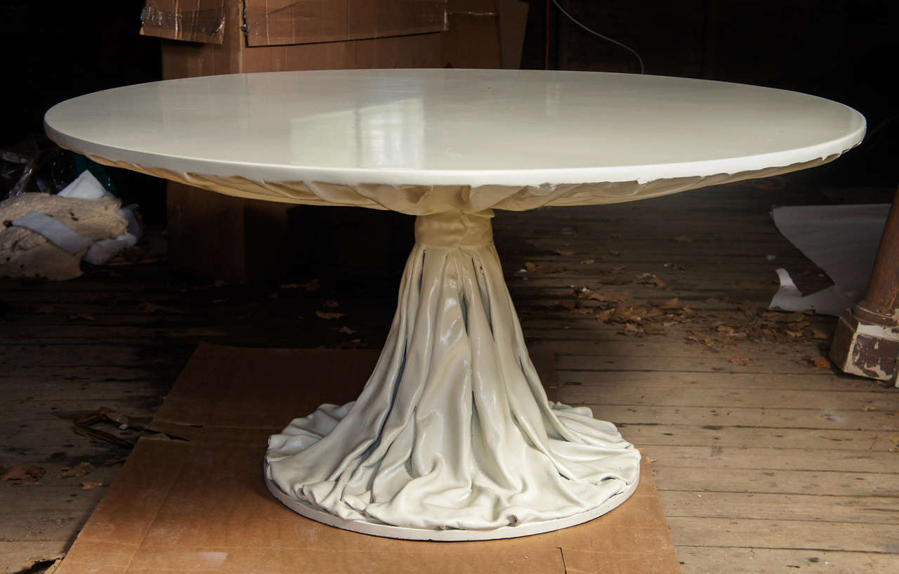 Richard himmel 39 gathered drapery 39 round dining or large for Round centre table designs