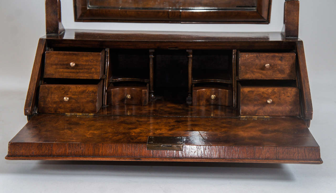 William And Mary Style Burled Walnut Dressing Table Mirror