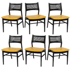 Six Cane Backed Dining Chairs by Dux