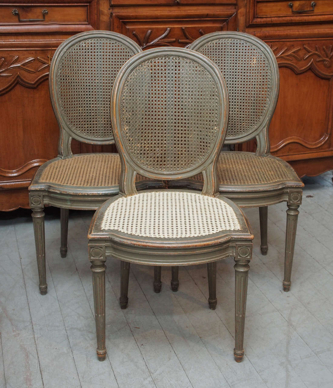 Set of 6 Painted and Caned Dining Chairs