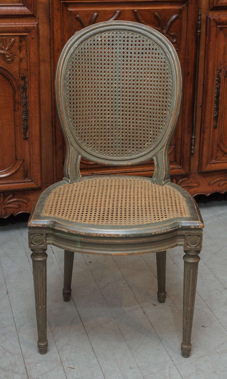 French Set of Six Belle Epoch Painted Dining Chairs For Sale