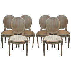 Set of Six Belle Epoch Painted Dining Chairs