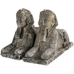 Pair of Cast Stone Sphinxes