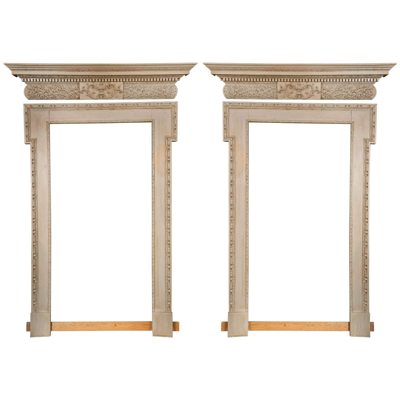 Pair Of Door Surrounds And Pediments Framing Large Mirrors For Sale