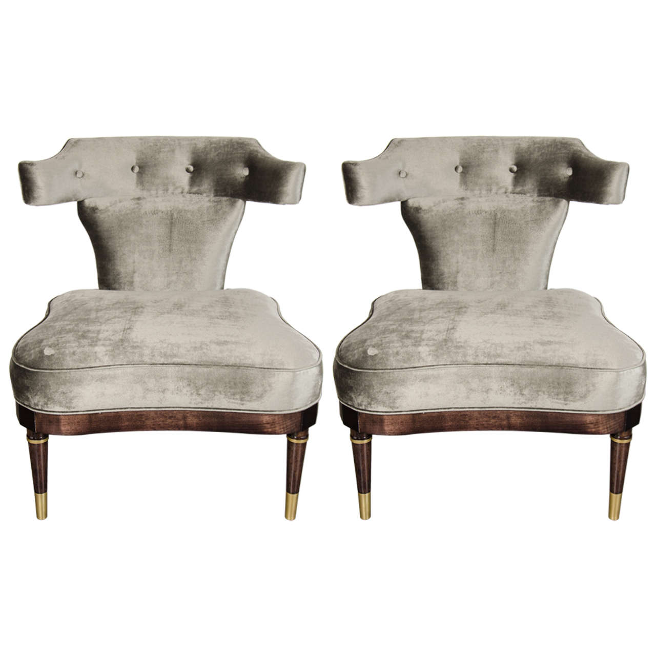 Of mid century modernist slipper chairs with klismos back at 1stdibs