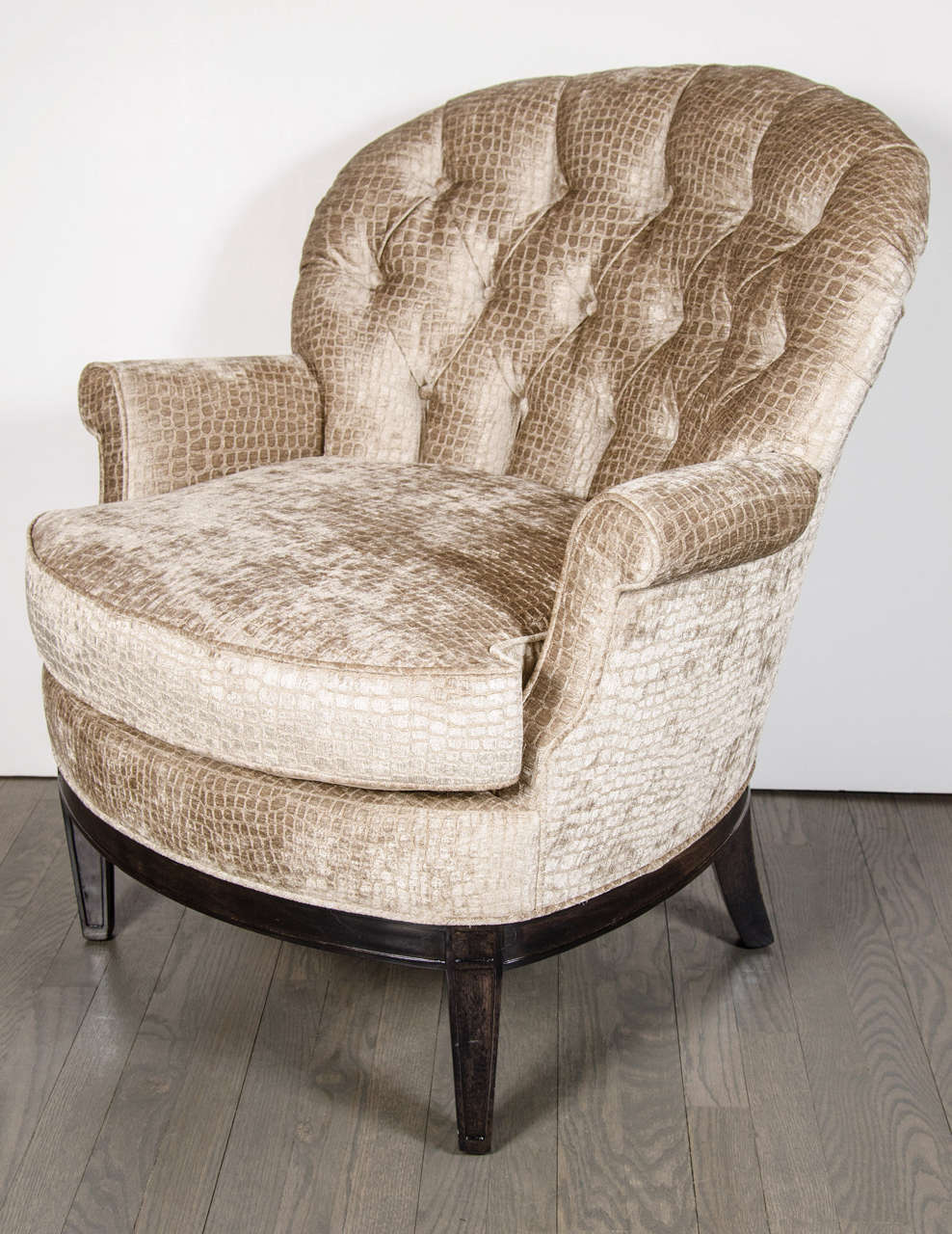 This mid century tufted club chairs is no longer available - Pair Of Mid Century Tufted Club Chairs In Crocodile Gauffraged Velvet 2