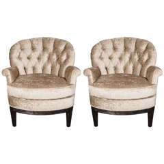 Pair of Mid-Century Tufted Club Chairs in Crocodile Gauffraged Velvet