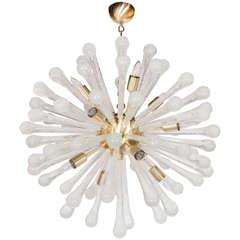 Clear Murano Glass Sputnik Chandelier with Brass Fittings