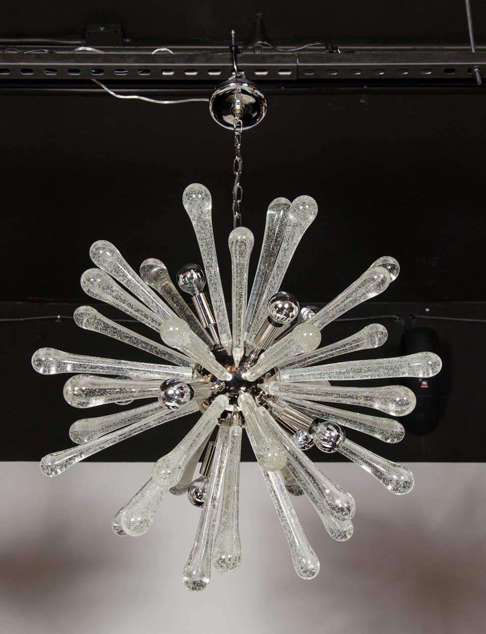 Stunning Murano Glass Sputnik Chandelier with Chrome Fittings 2
