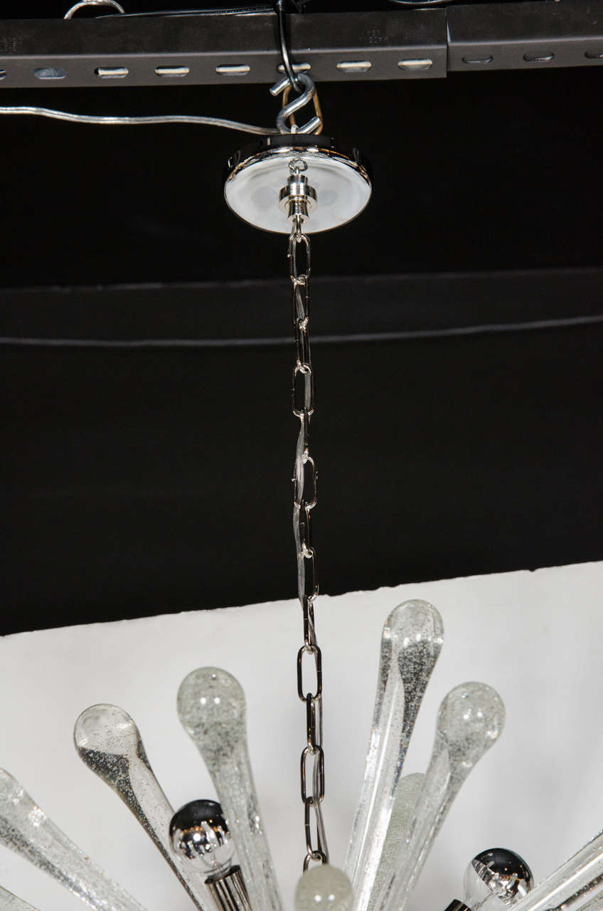 Stunning Murano Glass Sputnik Chandelier with Chrome Fittings 3