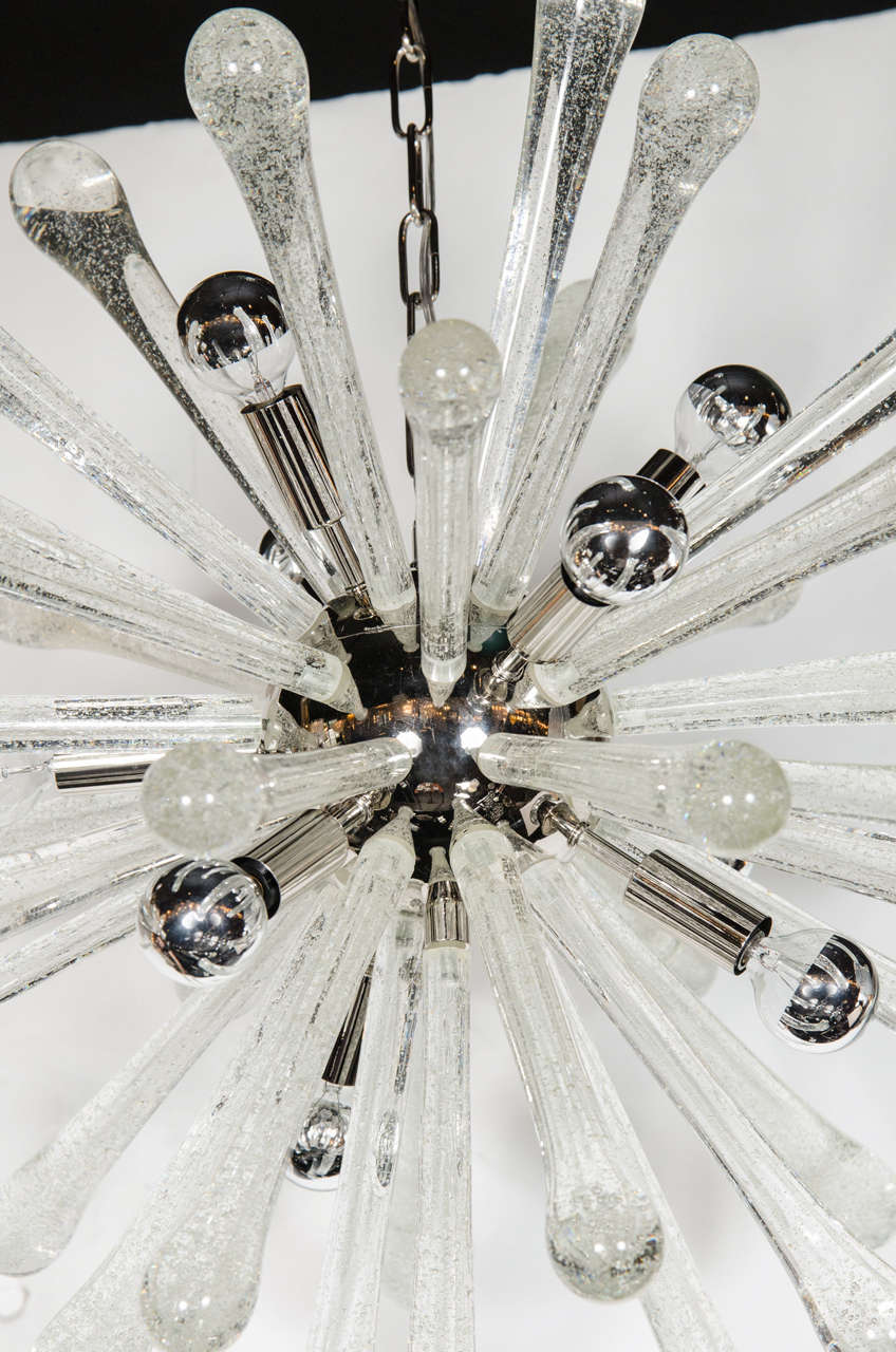 Stunning Murano Glass Sputnik Chandelier with Chrome Fittings 4