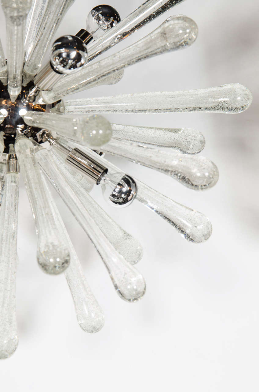Stunning Murano Glass Sputnik Chandelier with Chrome Fittings 5