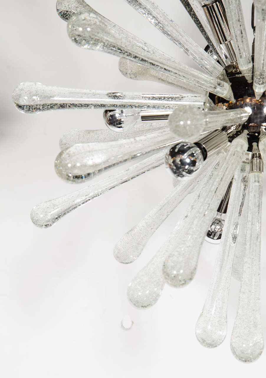Stunning Murano Glass Sputnik Chandelier with Chrome Fittings 6