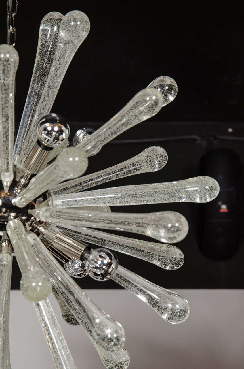 Stunning Murano Glass Sputnik Chandelier with Chrome Fittings 7