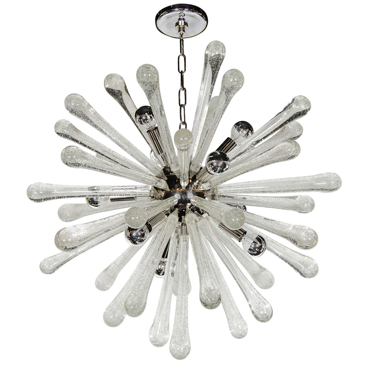 Stunning Murano Glass Sputnik Chandelier with Chrome Fittings 1