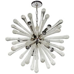 Modernist Murano Glass Sputnik Chandelier with Chrome Fittings