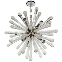 Stunning Murano Glass Sputnik Chandelier with Chrome Fittings