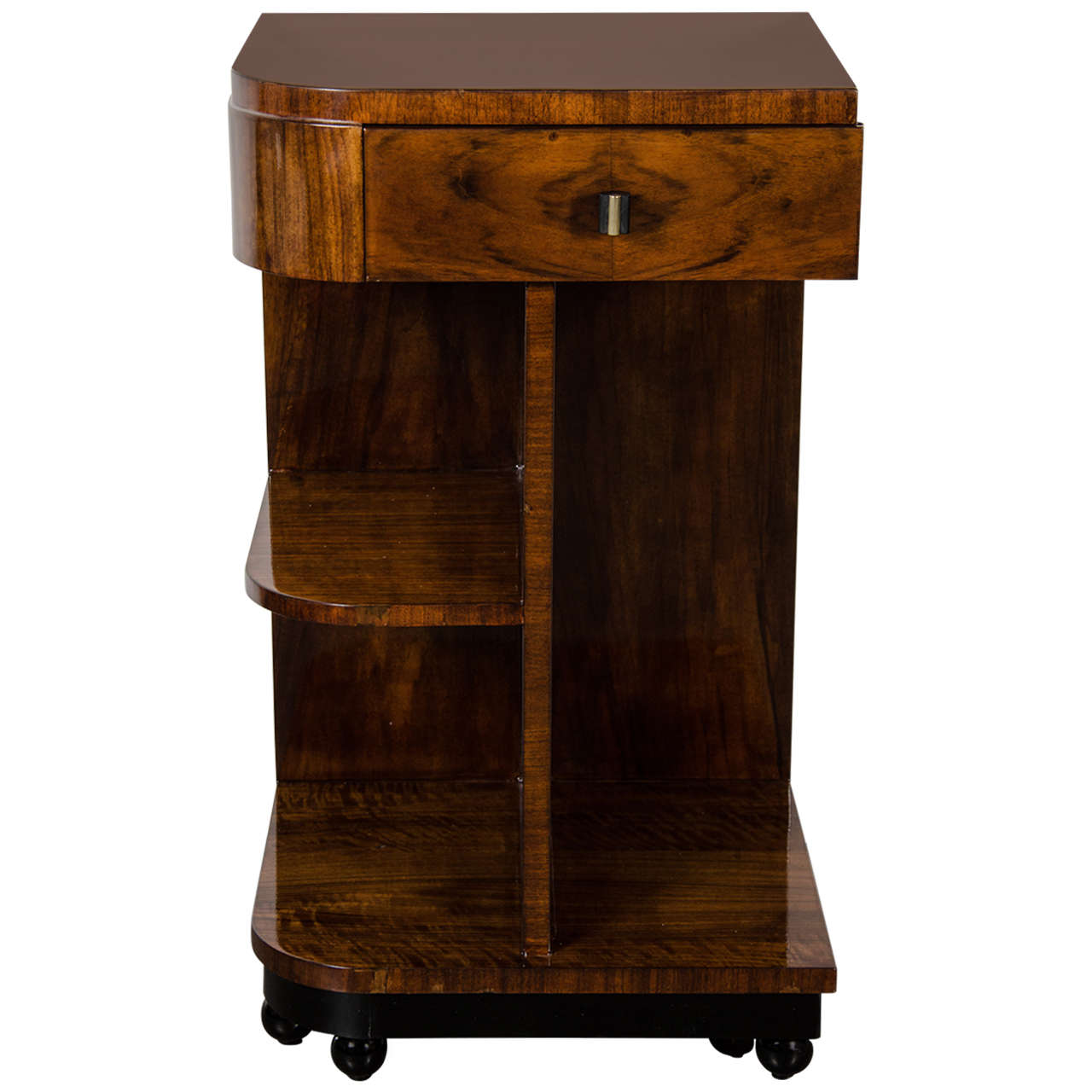 Art deco multi tier side table in book matched walnut with for Deco table multicolore