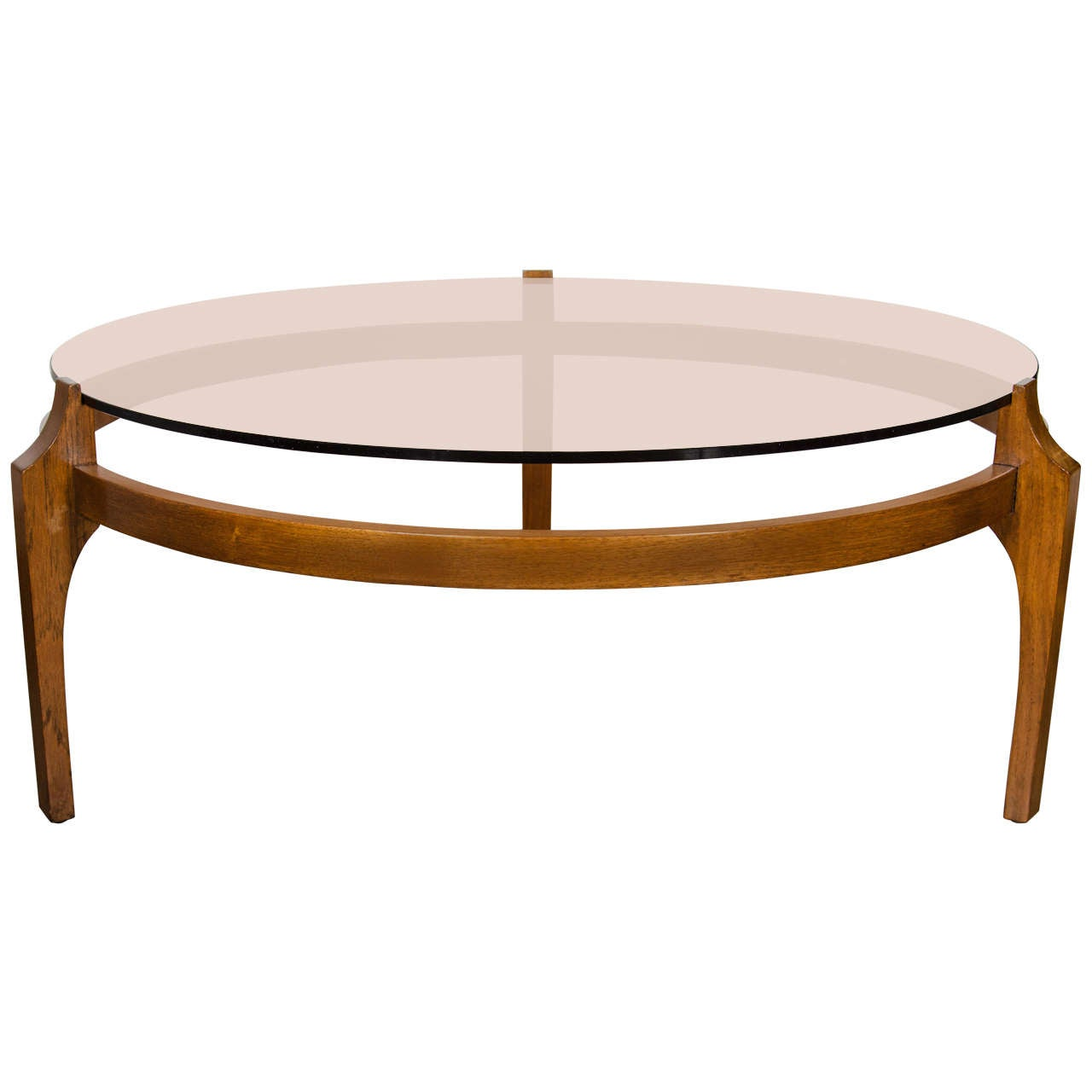 Mid Century Modernist Cocktail Table In Bronze Glass And Sculptural Walnut Base At 1stdibs