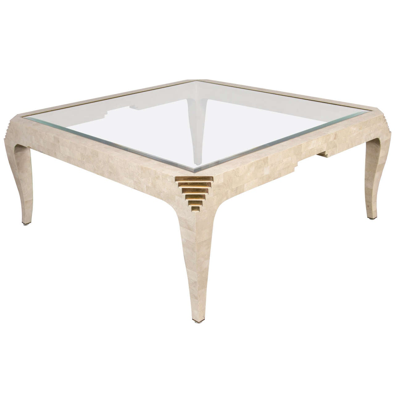 Art deco style tessellated fossil stone cocktail table by for Fossil coffee table