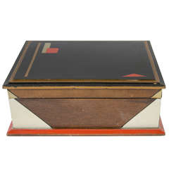 Rare Art Deco Hand Painted Wood Box with Geometric Designs