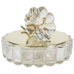 Glamourous Art Deco Covered Bowl in Ribbed Glass by the Heisey Co.