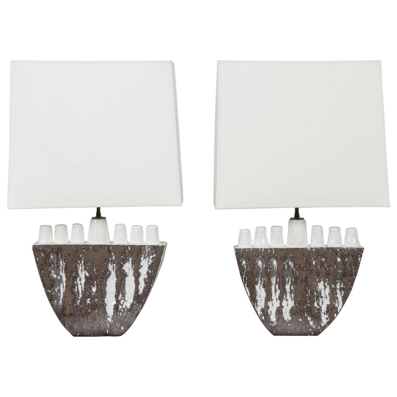 Unusual Pair of Ceramic Lamps