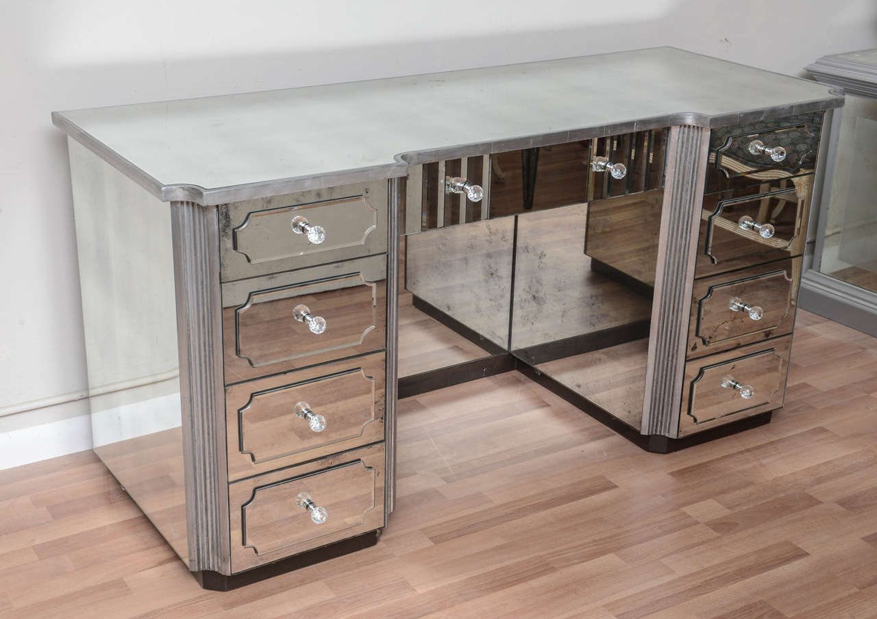 Charmant A Nine Drawer Mirrored Dressing Table Silver Gild With Distressed Mirror.  All Drawers Are