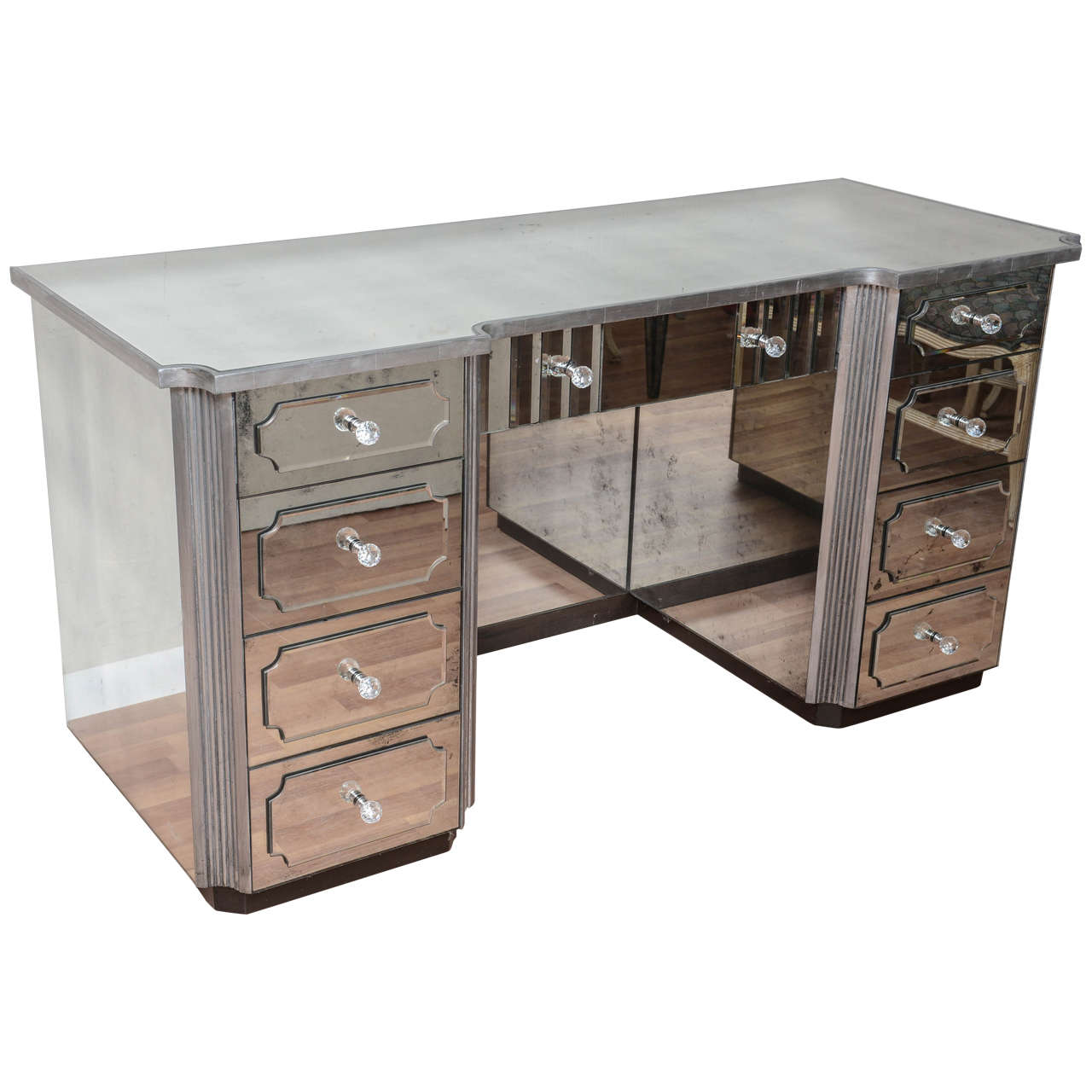 Superb Mirrored Dressing Table Or Vanity With Nine Drawers For Sale