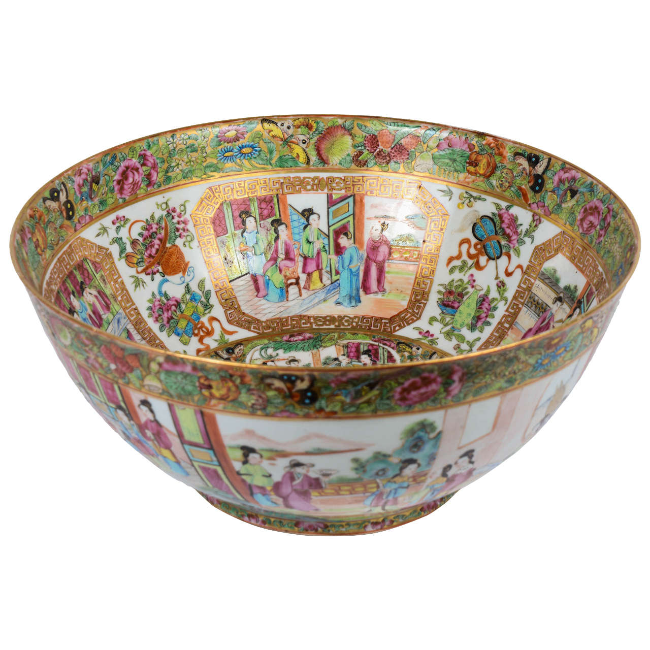 19th Century Chinese Canton Punch Bowl