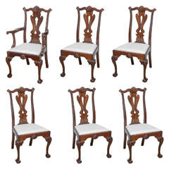 Set of Six Chippendale Style Chairs, 19th Century