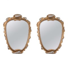 Hollywood Regency Style Pair of Italian Carved Shell Form Mirrors