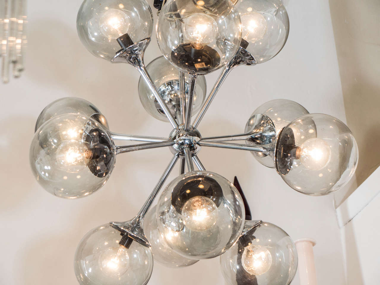 midcentury chrome and smoked bubble glass sputnik chandelier by lightolier 3